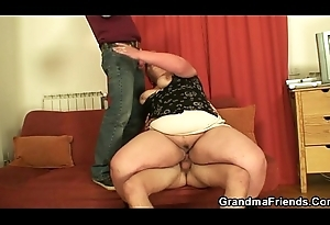 Fat mature prostitute swallows two schlongs