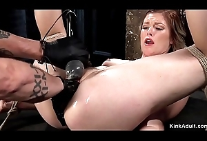 Hogtied babe gets cum-hole fisted regarding dungeon