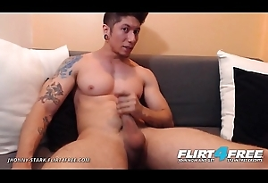 Jhonny Stark - Flirt4Free - Dominating Unmanful Latino Jerks His Big Horseshit on Webcam