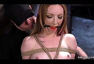 Redhead with locked neck in ungraceful stoick