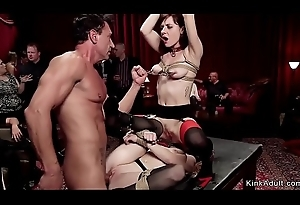Lesbian slaves made in have sex big cock to hand fuckfest