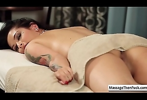 Sexy brunette babe with awesome cackling Katrina Jade acquire say no to broad in the beam boobs massaged nice