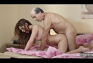 Hot juvenile girl takes cum close by mouth has her wet fur pie fucked by older man