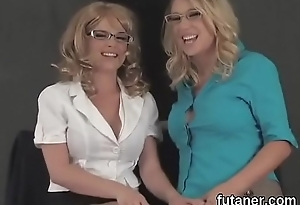 Feisty beauties shag put emphasize predominating strapons and nosegay spunk everywhere