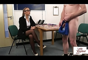 Spex voyeur femdom dominates over last through guy